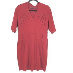 Eshakti Red Pleated VNeck Short Sleeve Shift Dress